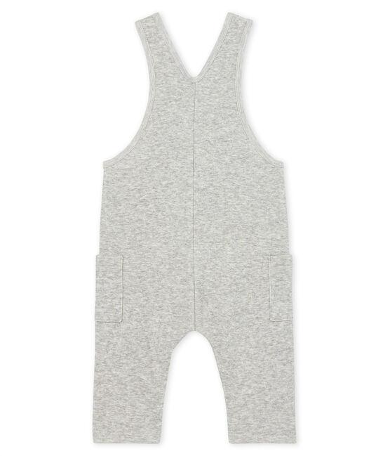 Salopette lunga bebè maschio in maglia di velluto grigio Beluga