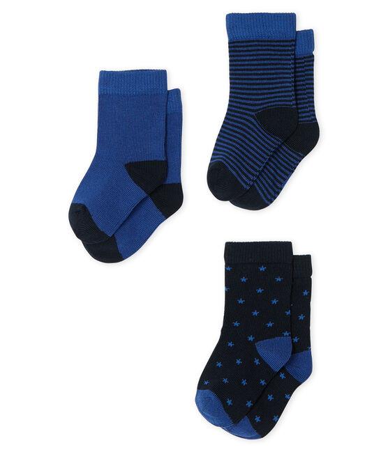 Confezione da 3 paia di calzini bebè maschio blu Smoking / blu Limoges
