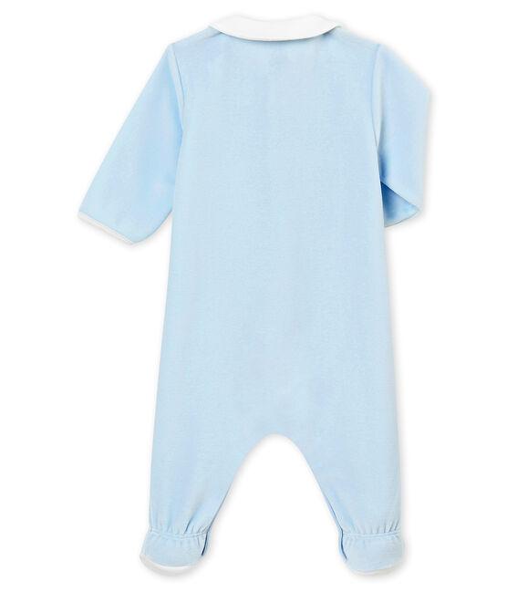 Tutina in ciniglia tinta unita per bebé maschio blu Fraicheur