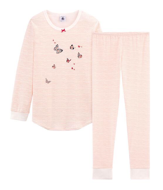 Pigiama bambina in cotone bianco Marshmallow / rosa Rosako