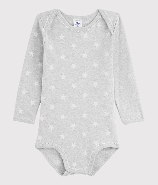 Body manica lunga bebè femmina grigio Beluga / bianco Marshmallow