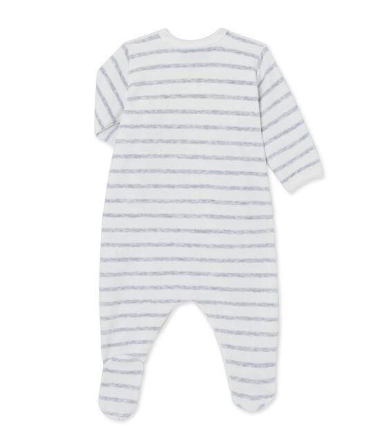 Dors bien bébé rayé bianco Lait / grigio Poussiere