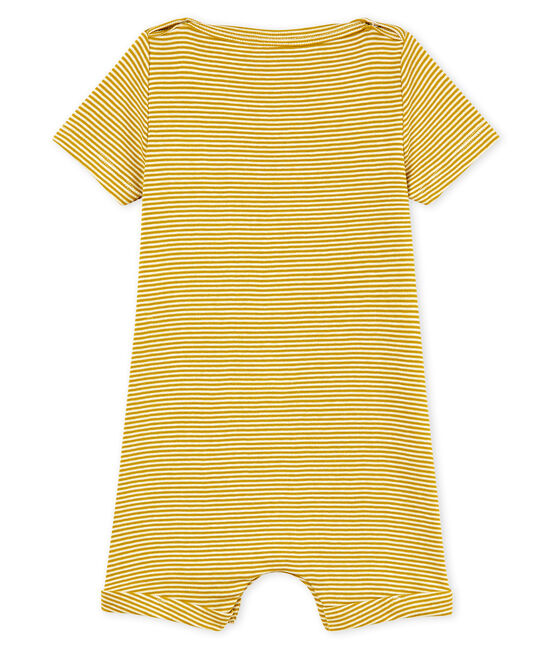Tutina corta bebè maschio millerighe giallo Bamboo / bianco Marshmallow Cn