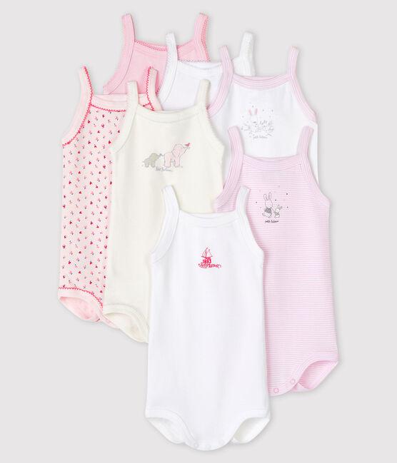 Pochette a sorpresa di 7 body con spalline bebè femmina lotto .