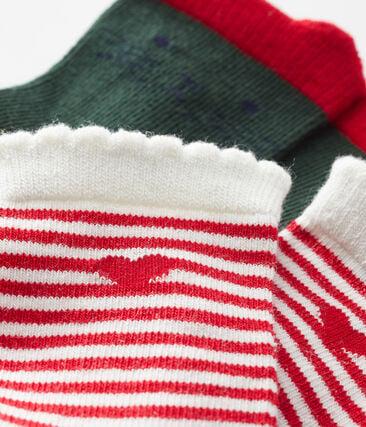 Confezione da 2 paia di calzini bebè femmina verde Sousbois