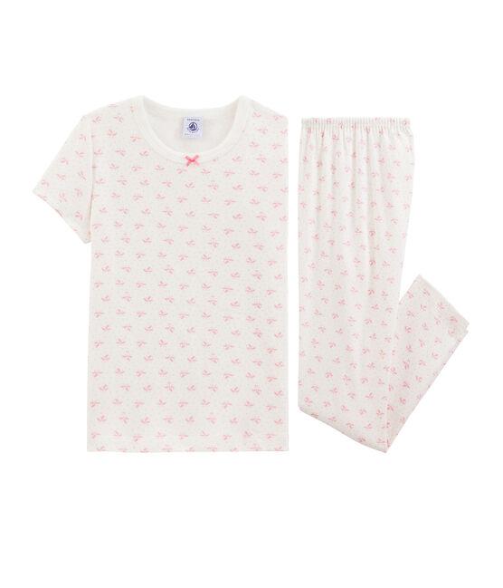 Pigiama fiori bambina a costine bianco Marshmallow / rosa Gretel