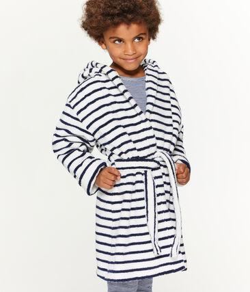 Accappatoio bambino in spugna bianco Lait / blu Medieval