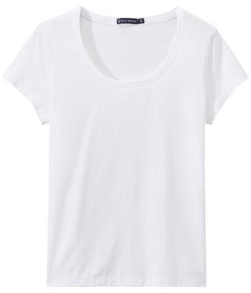 T -shirt donna con SCOLLO BALLERINA in jersey leggero bianco Ecume