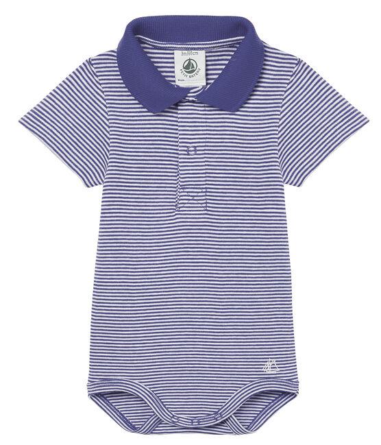 Body mc colletto polo neonato maschietto millerighe blu Riyadh / bianco Marshmallow