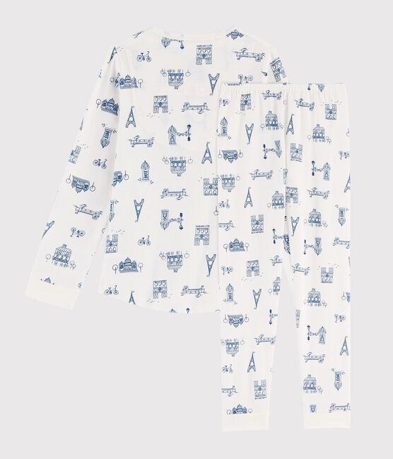 Pigiama bambino fantasia Parigi a costine bianco Marshmallow / blu Major