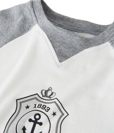 tee-shirtmaniche lunghe con serigrafia per bambino bianco Marshmallow / grigio Subway