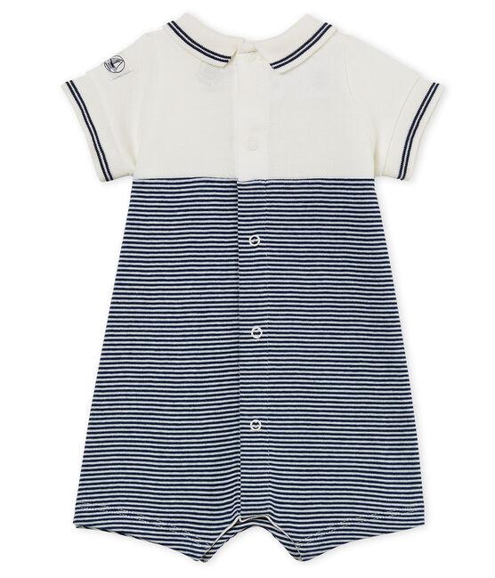Tutina corta bebè maschio blu Medieval / bianco Marshmallow