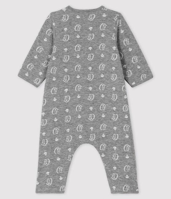 Tutina lunga da neonato jacquard con stampa riccio in tubique grigio Subway / bianco Marshmallow