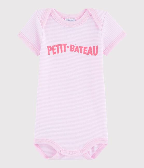 Body manica corta bebè femmina rosa Doll / bianco Ecume