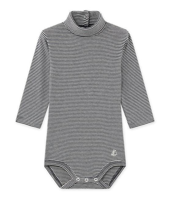 Body millerighe per bebé con collo arrotolato blu Smoking / beige Coquille