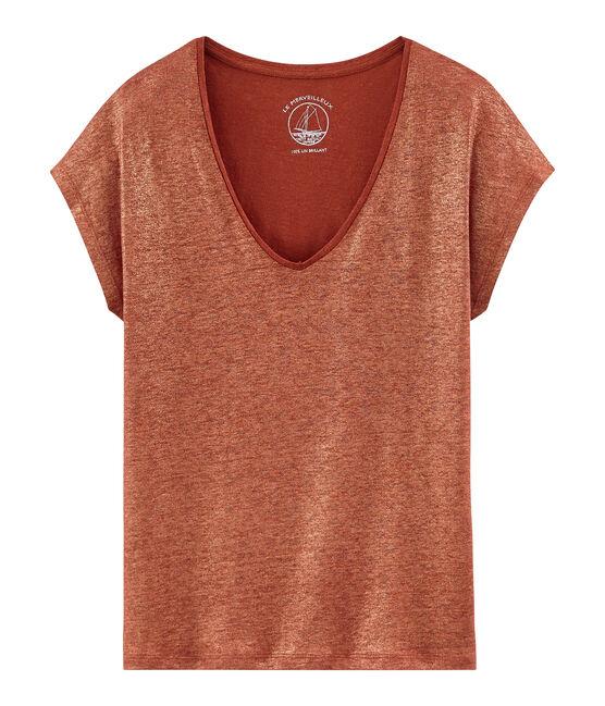 T-shirt maniche corte donna in lino cangiante arancione Ombrie / rosa Copper