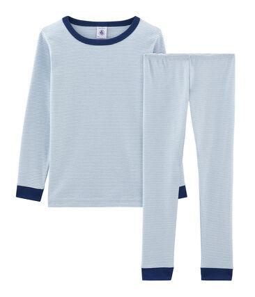 Pigiama bambino a costine modello molto aderente blu Acier / bianco Marshmallow