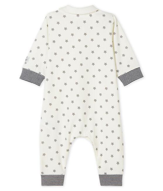 Tutina blu a stelle bebé a costine bianco Marshmallow / grigio Gris