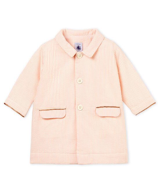 Cappotto rigato bambina bianco Marshmallow / rosa Rosako