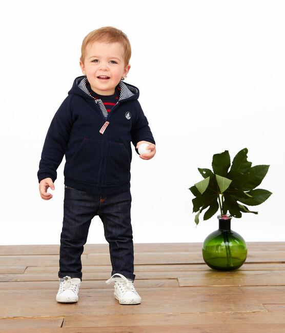 Felpa bebè maschio in pile blu Abysse
