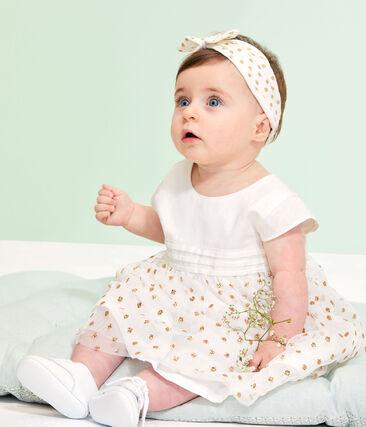 Abito bebè femmina bianco Marshmallow / giallo Or