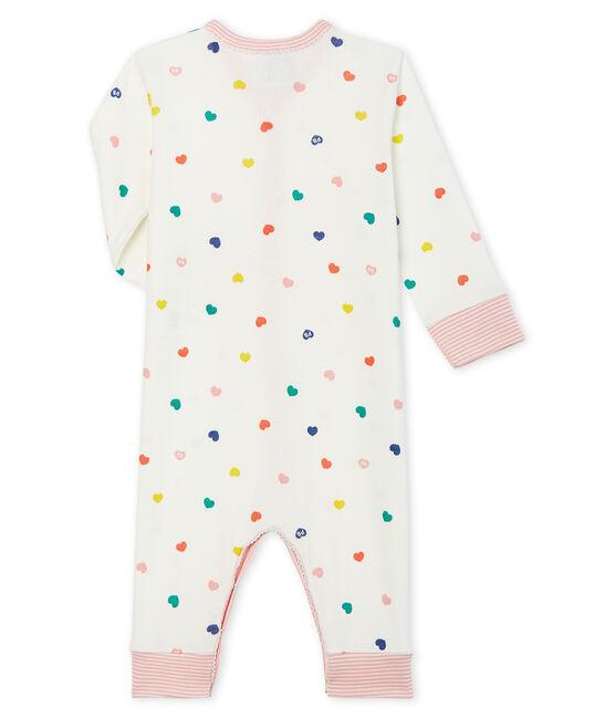 Tutina senza piedi a costine per bebé femmina bianco Marshmallow / bianco Multico Cn
