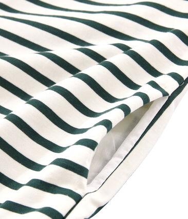 Abito maniche corte donna beige Coquille / verde Sousbois