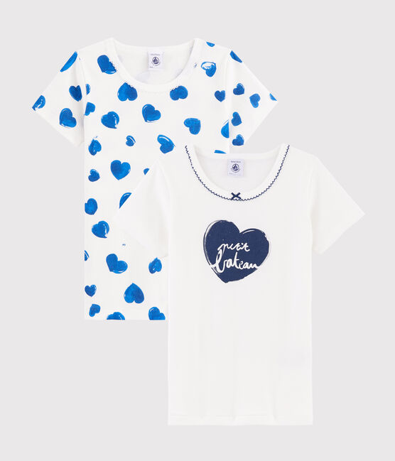 Confezione da 2 t-shirt manica corta cuori bambina lotto .