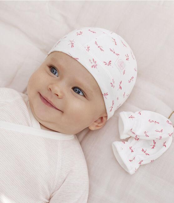 Confezione con cuffietta nascita e muffole bebè a costine lotto .