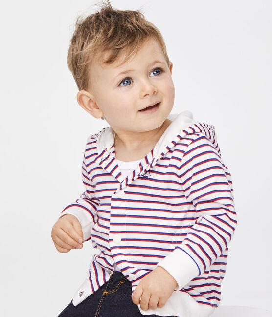 Felpa con cappuccio a righe bebè maschietto bianco Marshmallow / bianco Multico