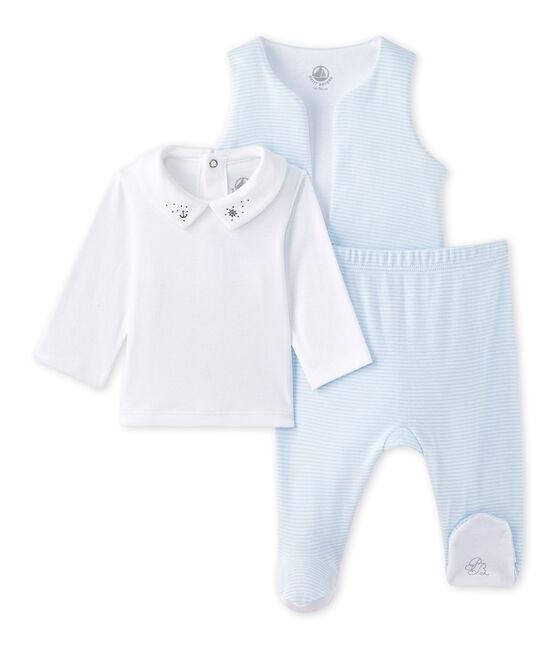 Coordinato 3 pezzi per bebé maschio blu Fraicheur / bianco Ecume