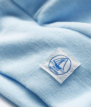 Cuffietta nascita bebè in ciniglia blu Toudou