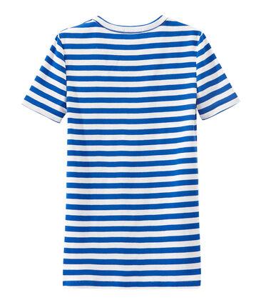T-shirt donna in costina originale 1x1 rigata blu Perse / bianco Marshmallow