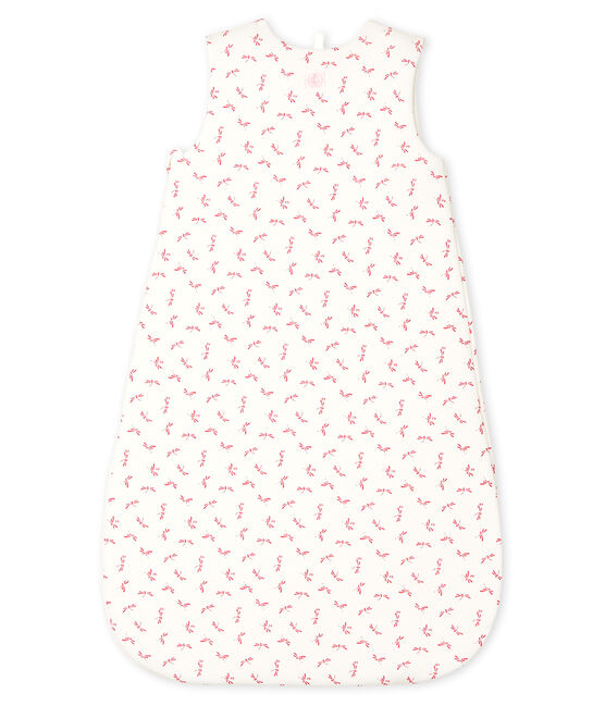 Sacco nanna bebè a costine bianco Marshmallow / rosa Groseiller