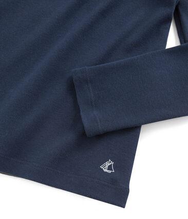T-shirt bambina con colletto alla collegiale blu Haddock