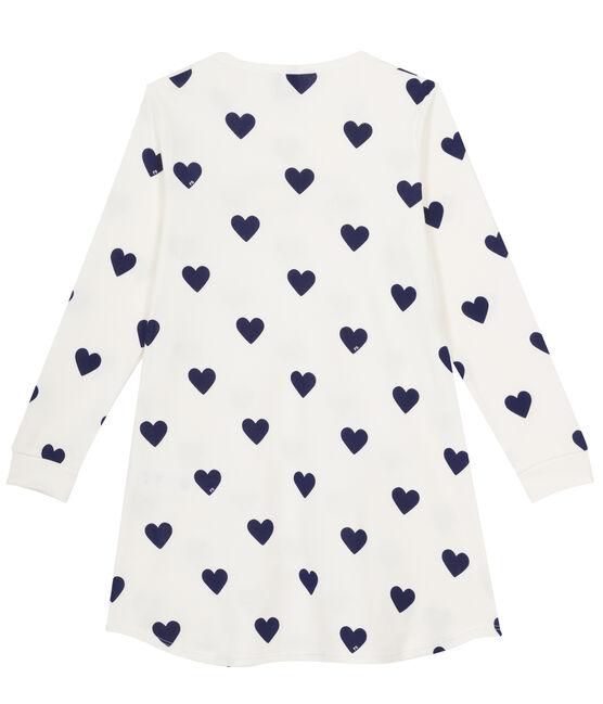 Camicia da notte ragazza a costine bianco Marshmallow / blu Medieval