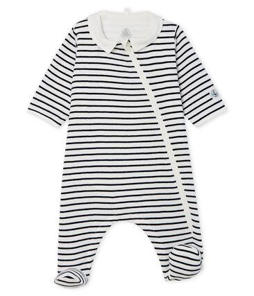 Bodyjama con zip bebè a costine bianco Marshmallow / blu Smoking