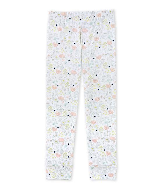 Pantaloni da pigiama per bambina da coordinare bianco Ecume / rosa Rose