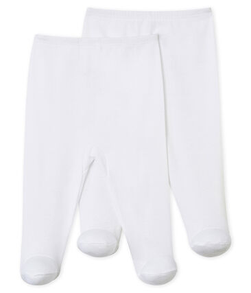 Duo pantaloni con i piedi bebè bianco Ecume
