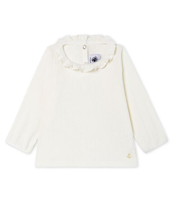 Blusa a manica lunga bebè femmina a tinta unita bianco Marshmallow