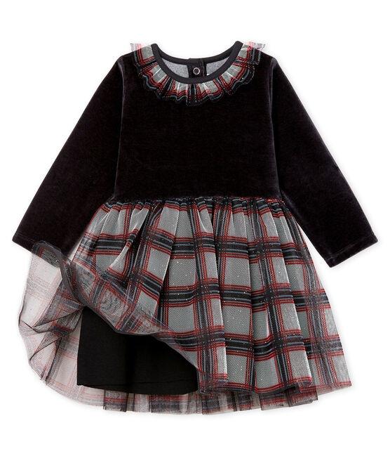 Abito bi-materiale a maniche lunghe da bebè femmina nero Noir / bianco Multico