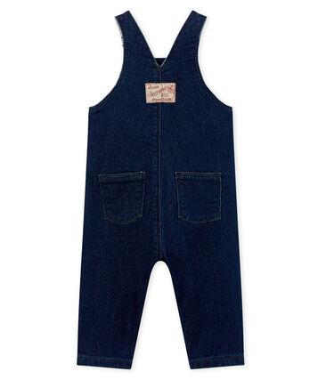 Salopette lunga bebè unisex maglia effetto denim blu Medieval / beige Ecru Cn