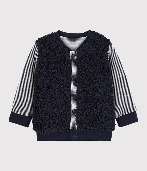 Cardigan reversibile bebè maschio blu Smoking / bianco Marshmallow