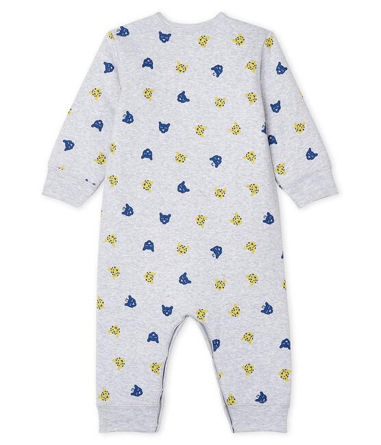Tutina senza piedi bebè maschio a costine in ovatta grigio Poussiere / bianco Multico