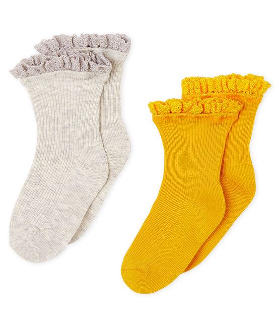 Confezione da 2 paia di calzini in pizzo bebè femmina giallo Boudor