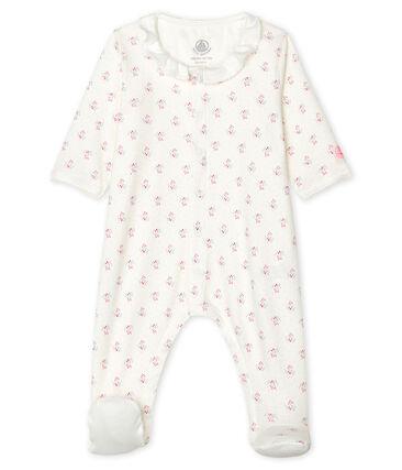 Tutina pigiama bebè femmina a costine bianco Marshmallow / bianco Multico