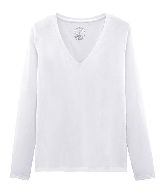 T-shirt maniche lunghe donna in cotone sea island bianco Ecume