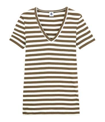 T-shirt donna scollo V in costina originale 1x1 rigata
