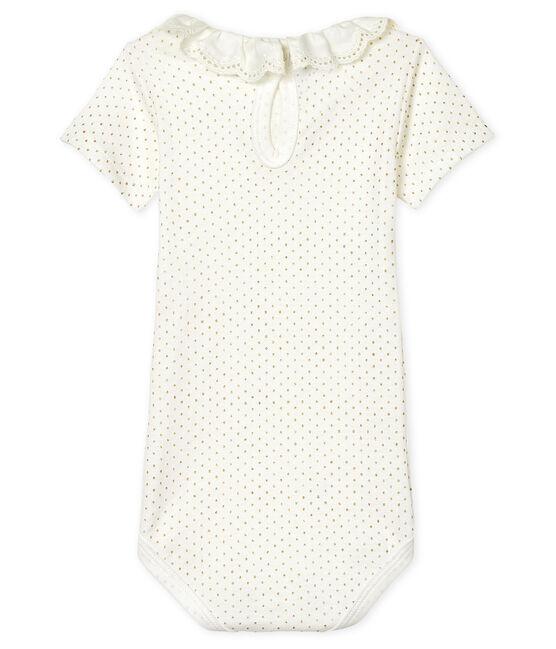 Body con colletto rotondo arricciato bebè femmina bianco Marshmallow / giallo Or