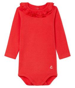 Body manica lunga bebè femmina con collettino rosso Signal